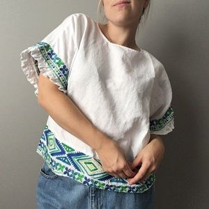 Falls Creek Embroidered Linen Button Back Top 0785